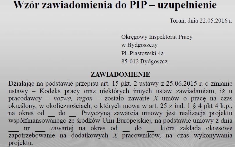 Wzór Zawiadomienia Do Pip Uzupełnienie Nielimitowanej Umowy Na